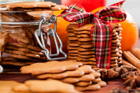 Closeup of a christmas gingerbreads on heap photo