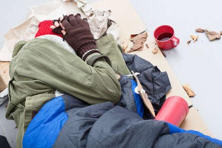 Homeless life - sleeping on the street Stock Photo - 24368937