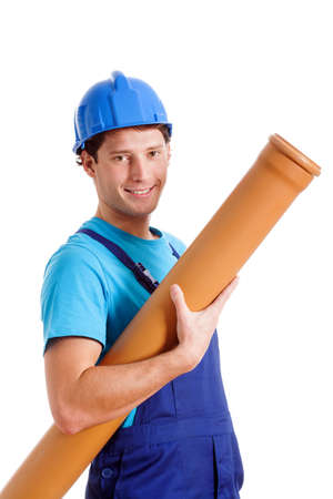 Blue collar worker with plastic pipe, isolated background