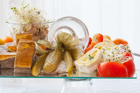 A plate with plenty of vegetarian snacks Stock Photo - 24398784