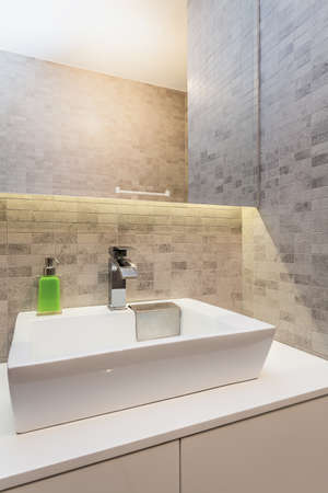 Urban apartment - Modern wash basin in small bathroom Stock Photo - 24398787