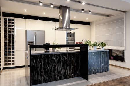 都市アパート - 黒と白のキッチンのインテリア