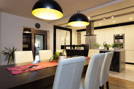 dining room: Urban apartment - Interior of dining room and kitchen