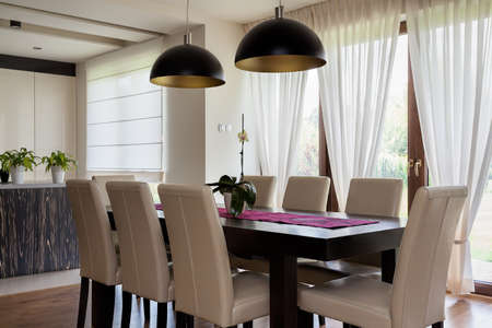 dining room interior: Urban apartment - interior of a dining room, table Stock Photo
