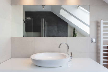 vessel sink: Urban apartment - white bath counter and vessel sink