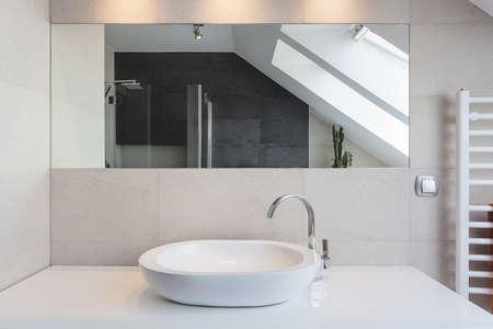 basin: Urban apartment - white bath counter and vessel sink
