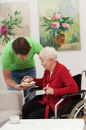 caring for: Grandson is caring for his disabled grandmother