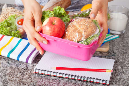 healthy lunch: Mother giving healthy lunch for school in the morning Stock Photo