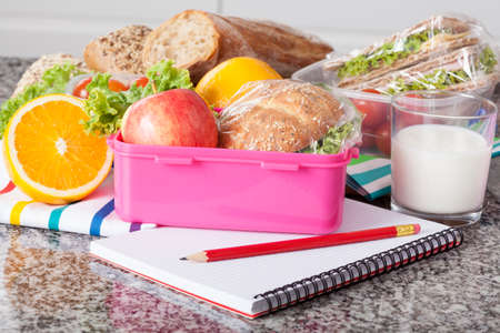 Close up of lunchbox with wholesome food for breakfast Banco de Imagens