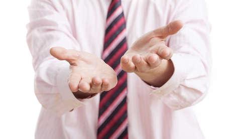 Una persona de negocios animando a aceptar su oferta Foto de archivo - 24493565