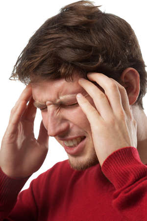 Man suffering from strong headache photo