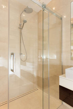 Glass contemporary shower in new bathroom Stock Photo - 24568037
