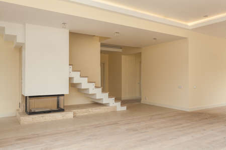 New spacious living room under construction, modern house photo