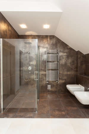 Glass modern shower, wc and bidet in bathroom photo