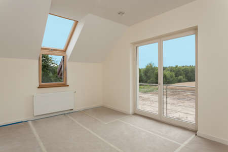 New empty room with huge windows under construction Stock Photo - 24568151