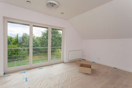 Spacious room being renovated, moving new house Stock Photo