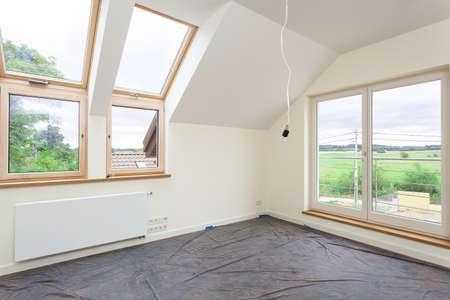 새 집의 바닥과 그림 벽 변경 스톡 콘텐츠