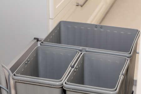 Grey plastic and empty boxes  photo