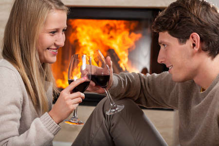 A couple proposing a tost by a fireplace with red wine Stock Photo - 24568521