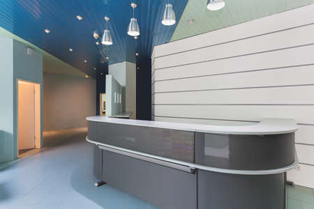 Grey modern reception in an office building photo