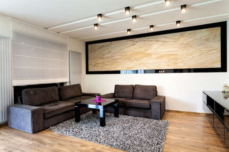 Urban apartment - Travertine on a wall in living room photo