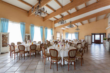Mediterranean interior - a stylish reception in a luxurious restaurant photo