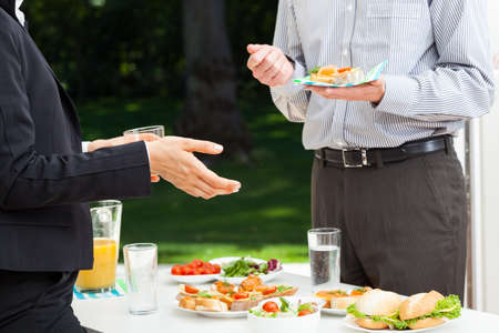 lunch meeting: Office buffet with healthy appetizers and juice Stock Photo