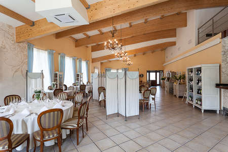 Mediterranean interior - an elegant cosy wooden inn photo