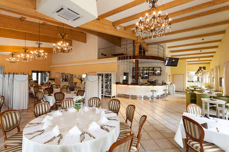 mediterranean interior: Mediterranean interior - a luxurious restaurant with chandeliers Stock Photo