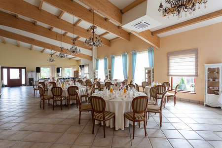 Mediterranean interior - an elegant party in a vintage restaurant photo