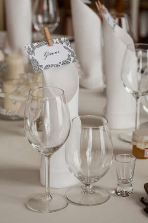 mediterranean interior: Mediterranean interior - a table set for a groom
