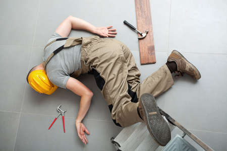 Handyman fell from ladder and severely got hurt photo
