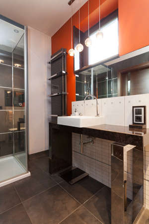 A classy rest room with an orange wall Stock Photo - 24912299