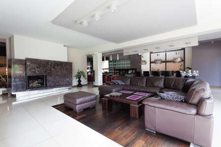 Spacious modern living room and huge couch photo