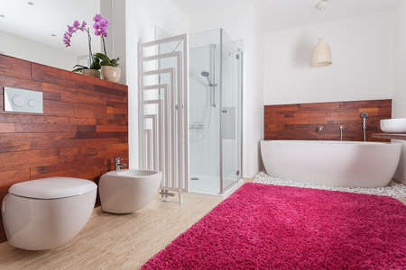 Red carpet in bright spacious bathroom photo