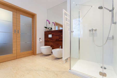 toilet door: Spacious bathroom with wooden doors