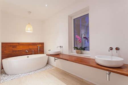 double sink: Interior of modern spacious bathroom