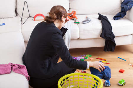 wives: Active busy woman is exhausted her steady workload Stock Photo