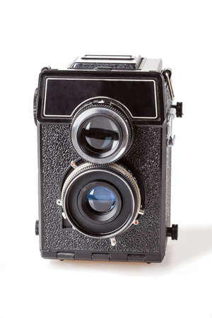 darkroom: A black twin-lens camera on a white background