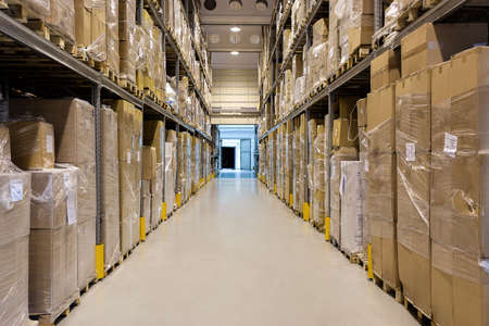 warehouse equipment: Interior of a modern warehouse full of a products