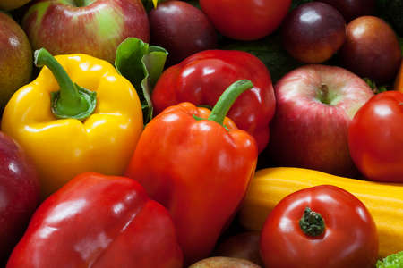 dietetical: Fruit and vegetable heap full of colours and vitamines Stock Photo