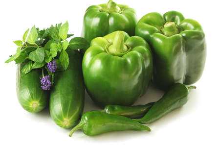 dietetical: Green vegetable mix consisting of paprika zucchini and chilli
