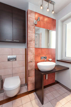 vessel sink: Spacious apartment - Interior of modern bathroom with vessel sink