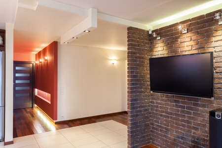 tv home: Spacious apartment - living room and a hallway