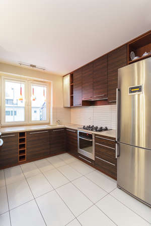 fridge lamp: Spacious apartment - kitchen interior with brown furniture