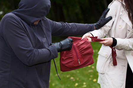 grabbing: Agressive thief in the park snatching a purse