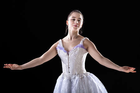 Happy ballet dancer after successful performence  photo