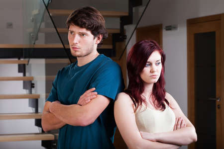 relationship problem: Unhappy and incompatible couple have a crisis