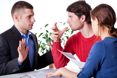 Man beeing angry with insurance agent who deceived him Stock Photo - 25626897
