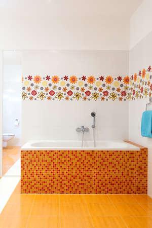 Big comfortable practical bath in the corner of the bathroom Stock Photo - 25626917